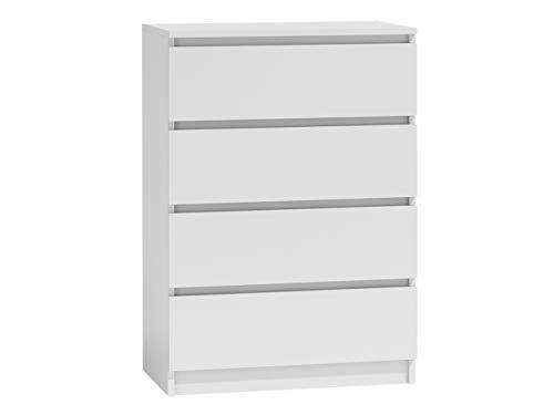 Home 4 Schubladen Kommode (Kommode mit 4 Schubladen Malwa M4, Diele, Flur, Anrichte, Highboard, Sideboard, Mehrzweckschrank, Wohnzimmer, Esszimmer (Weiß))
