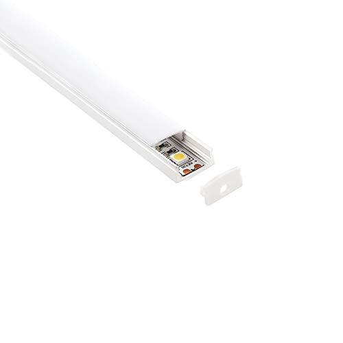 2mt Reißverschluss Profil Aluminium Weiß Unterstützung Oberfläche für Strip Streifen LED-in Kit mit Diffusor und Zubehör-Kit und Finish einschließlich (Home Kit Diffusor)