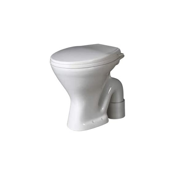 Ceramic Floor Mounted European Water Closet/Western Toilet Commode/EWC S Trap with Normal Seat Cover 47cm x 37cm x 40cm - White