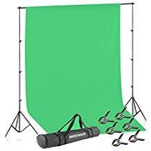 Neewer Kit di Supporto Stand per Fondale Sfondo per Illuminazione: 2,6x3m Sistema di Supporto per Fondale Sfondo, 1,8x2,8m Fondale Verde di Mussolina, 6 Pinze Morse & Borsone di Trasporto