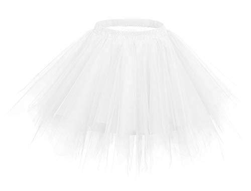 Comall Kinder Kurz Tutu Rock Petticoat Ballettrock Tuturock Unterrock Tüll Unterkleid Weiß