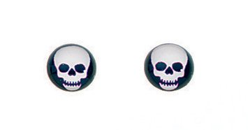Sterling Silber schwarz und weiß Totenkopf Ohrstecker