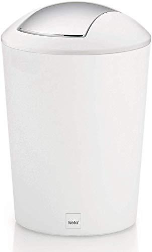 Kela 22301 - Cubo de Basura para baño de plástico, 5 l, Color Blanco