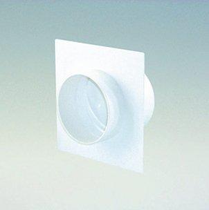 Quellmalz Küchentechnik Wandanschluss mit Rückstauklappe in Weiß Durchmesser 125 mm Rundanschluss Maße 210 x 210 mm für Abluftrohre / Lüftungsrohre Abluft