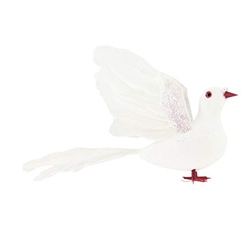 B Blesiya Lebensechte Schöne Feder Weiße Taube Handwerk Realistische Taube Abbildung Landschaft Statuen Ornamente Outdoor Yard Dekor - B -