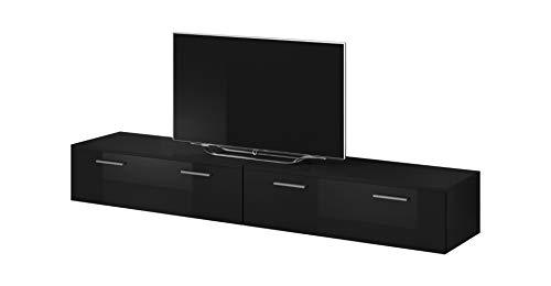 TV Möbel Lowboard Schrank Ständer Boston Korpus Schwarz/Front schwarz Hochglanz 200 cm (Tv-ständer Schrank Schwarz)