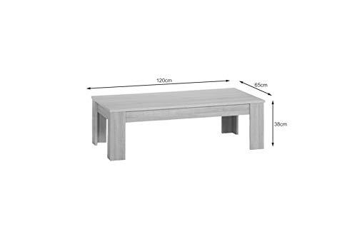 CAVADORE Couchtisch Nick/Moderner Wohnzimmertisch/Resistent Gegen Schmutz / 120 x 65 x 38 cm (L x B x H)