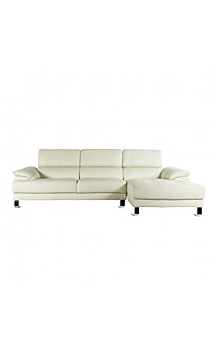CAMINO A CASA - Canapé d'angle simili cuir blanc ULTRA