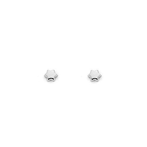 Pendientes Bebe niña oro blanco Estrella lisa 9kts