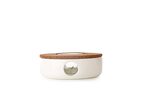 TEA SOUL Soporte y Calentador de Corcho y Porcelana para Tetera, Muy Elegante El Perfecto Soporte para Mantener Caliente la Tetera, Color Blanco, Marca
