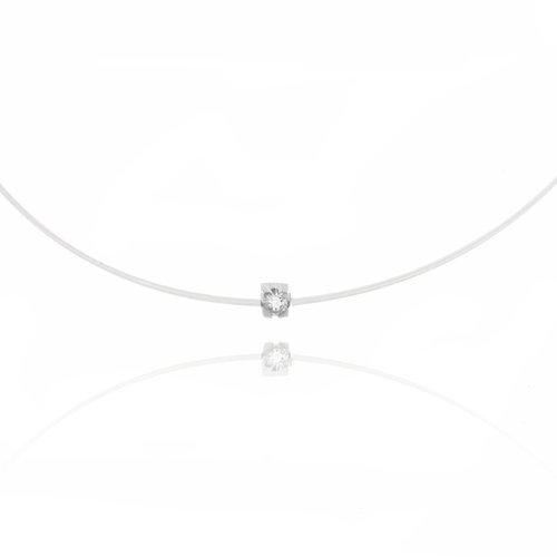 Tousmesbijoux Collier carré diamant et Argent sur fil transparent