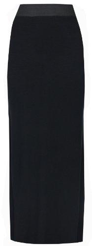 asfashion online - Damen Dehnbares, Langes Jersey Maxi Rock in Übergröße - Schwarz, EU 38
