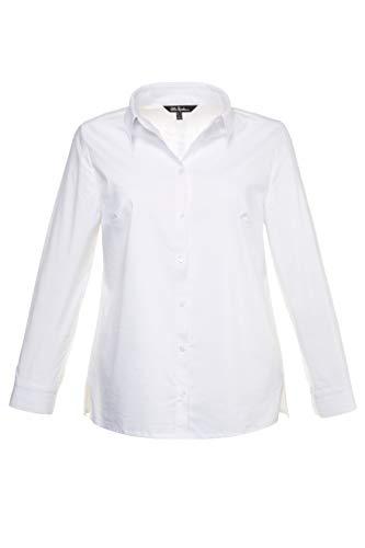 Ulla Popken Damen große Größen bis 60 | Bluse, Langarm Shirt | Hemdkragen, Seitenschlitze & Knopfleiste | Manschetten | weiß 56 714168 20-56