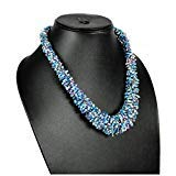 Nagina International Light Blue Coral Reef Artificial Handmade Million Beads Bridal Jewelry Necklace -