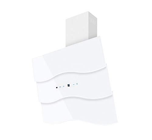 Dunstabzugshaube Wandhaube F.BAYER WAVE 60W 60cm Weiß Weißglas Dunstabzug 850m³/h EEK A LED