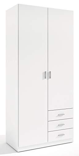 Miroytengo Armario ropero Dormitorio Matrimonio Juvenil Color Blanco 3 cajones 2 Puertas 216x100x53 cm