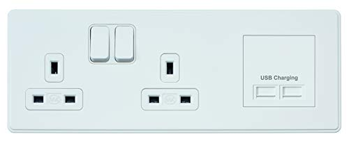 92a19d928 MK Electric Dimensions 2 Gang DP 13A Switch Socket Multimedia Plate with  Euro Frame Right Side