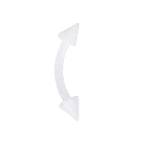 Bianco bioflex con punte curve sopracciglio bilanciere.