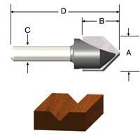 Vermont American 23120 1/2-Inch by 90-Degree Carbide Tipped V-Groove Router Bit, 2-Flute 1/4-Inch Shank by Vermont American -