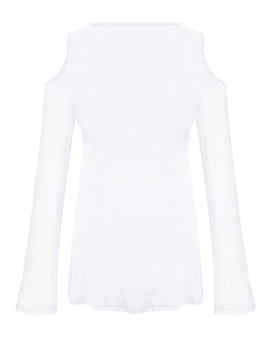 Yidarton Blouse Femme Manches Longues Epaule Dénudé Chic Sexy Col V Top Tee Shirt Chemise Blanc
