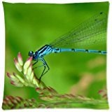 Custom Blue Dragonfly Zippered Pillow Case Decor Cushion Cover Square 18 x 18 Inches (Twin Sides) (Blue Dragonfly)