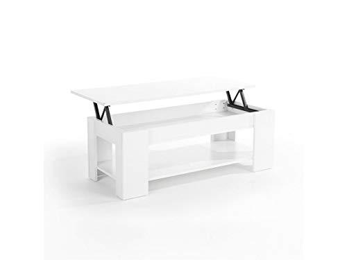 Generic Ift Up Table Basse avec étagère de Rangement Blanc