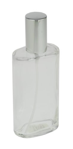 Fantasia 46193 Clear Glass Bottle, Oval, with Sprayer Pump and Cap, for 100 ml, Silver