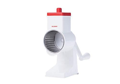 Kelomat Nussreibe Maxi Schneidtrommel fein aus Edelstahl Rostfrei I Leicht zu reinigen und spülmaschinengeeignet in der Farbe weiß/rot mit rutschfesten Klebestreifen