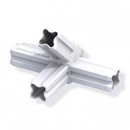 Connecteur jonction 45°C blanc 4 embouts pour tube alu et pvc