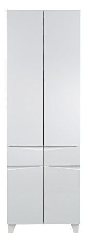 CAVADORE Doppelhochschrank SHARPCUT / hoher Badschrank mit gefräster Griffleiste / Front Hochglanz Weiß / 4 Türen & 1 Schublade / Korpus Melamin weiß / Glasablage grau / 60x183x33cm (BxHxT)