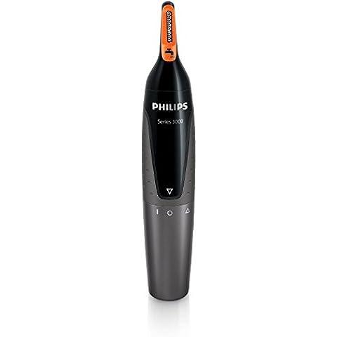 Philips NT3160/10 - Recortador de vello, nariz y orejas, resistente al agua, color negro y plateado