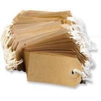 50 Small Brown/Buff (Manilla) Strung 70x35mm Tag/Tie On Luggage Labels by Q-Connect