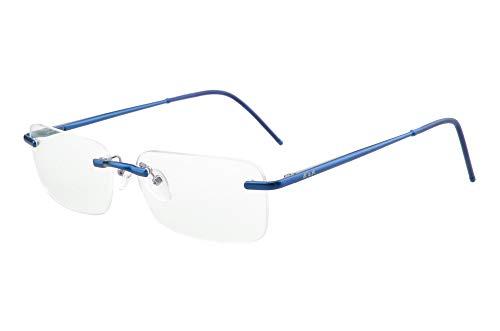 Edison & King Lesebrille Free randlose Brille aus Aluminium mit Federscharnieren - extra leicht (mit Entspiegelung und Etui, Blau, 3,00 dpt)