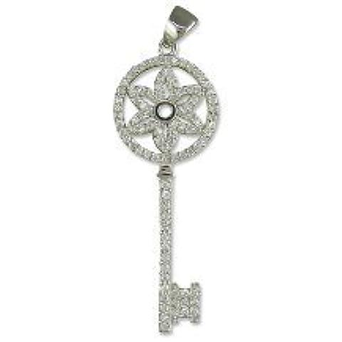 Con pendente a forma di chiave, in argento Sterling, con brillanti, colore: trasparente/bianco, Zirconia cubica, stile Tiffany (CZ)