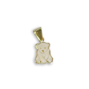 Baby Eisbär Charms Anhänger echt 14 Karat Gold 585 emailliert (Art. 206035) (Baby Charm Gold)