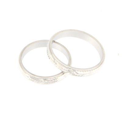 2 anelli fedine uomo/donna in argento 925 rodiato lavorazione diamantata