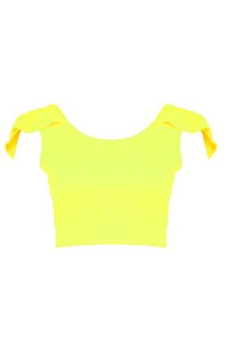 Damen Gelb Lola Kurztop Mit Tiefem Rückenausschnitt Und Blumen-print Gelb