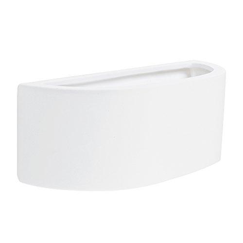 MiniSun - Aplique de pared moderno, cerámica blanca y forma de balcón...