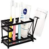 Vanra metallo supporto per spazzolini da denti supporto Organizer portaoggetti per Bagno di dentifricio & Countertop Guide di trucco nero