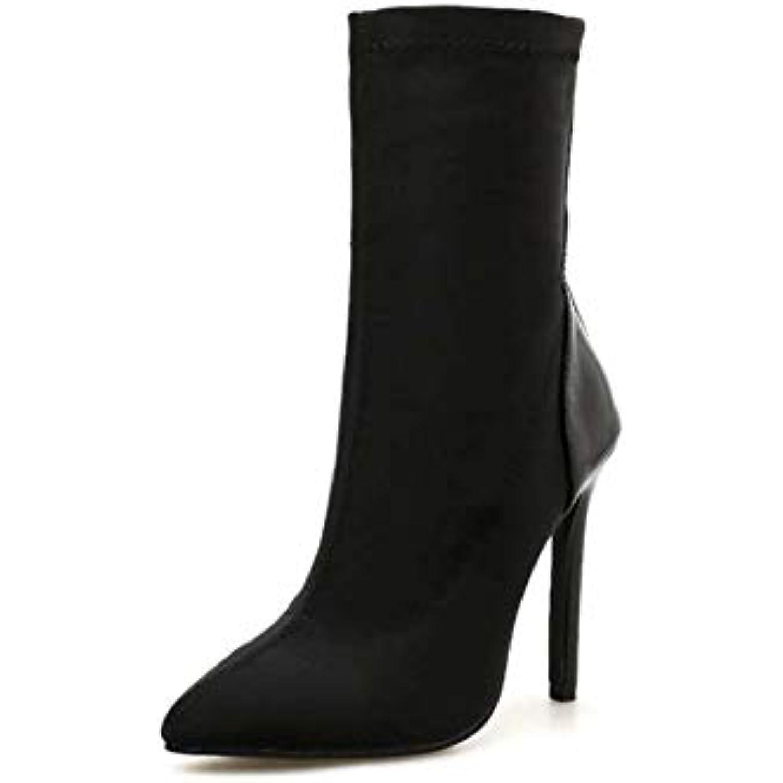 Mamrar Grande Taille Femmes Bottes Bottes Bottes Pointu Orteil Stretch Tissu Haut Talon Bottine Colormatch Chaussures Robe De... - B07GSW94RW - 2fb8aa