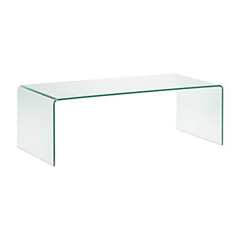 Tavolino tavolo basso da salotto in vetro temperato, tavolo luxury z-01, design curvo e moderno, 110 x 43 x 60, tavolo basso dal design minimal, vetro temperato trasparente