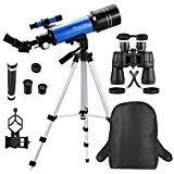 MaxUSee Reisefernrohr mit Rucksack - 70 mm Refraktor-Teleskop & 10 x 50 Fernglas in voller Größe für Mondbeobachtung und Vogelbeobachtung (70x50 Fernglas)