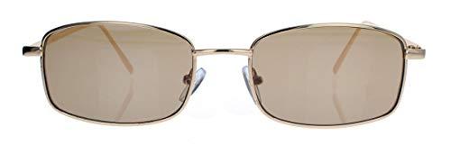 amashades Vintage Classics Trendige Damen Herren Sonnenbrille klein schmal flach rechteckig Metallrahmen gold farbige Gläser SM52 (Gold/Braun)