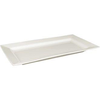 Fine Bone China Porzellan Geschirr Whiteware Geschirr-Set, mit breitem Rand, rechteckig, Platte, 257 x 155 mm 25.40 x 15.24 cm, Box 4 Stück, schönes und robustes Kochgeschirr für Ihr Zuhause! Oval-relish