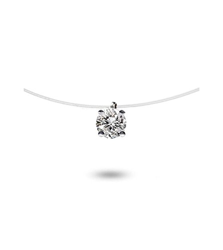 Tousmesbijoux - Collier diamant solitaire Or blanc 750/00 sur fil nylon