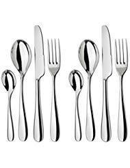 Alessi Nuovo Milano Besteckset - 8-teiliges Tafelservice - 2 komplette Tafelbesteck - Premium Qualität Edelstahl - 18/8 Edelstahl - 2 Gabeln, 2 Messer, 2 Löffel, 2 Teelöffel
