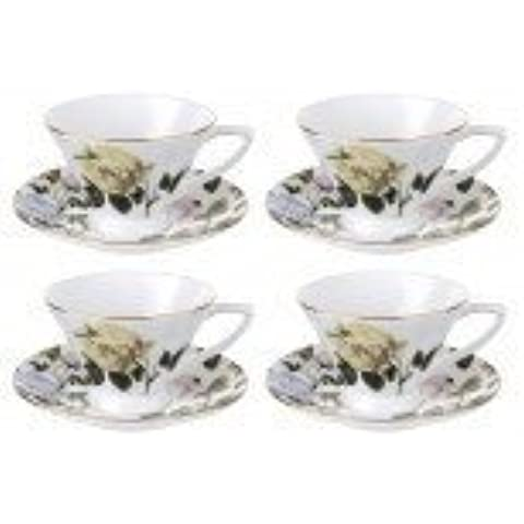 Ted Baker Portmeirion de flores de loni Harris Lee blanco de taza y plato juego de cuatro