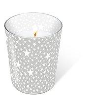 1 Kerze Glaskerze Starlets silver Höhe 10 cm, dm 8,5 cm