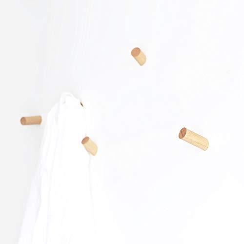 anaan One-Tenth Diseño Percheros Pared Madera Colgador Abrigos Gancho Pared Pasillo Moderno Decorativo nordico (Haya Juego L Φ3*10cm, M Φ3*8cm, S Φ3*6cm)