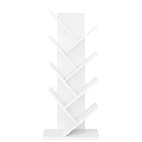 Homfa mensola libreria di legno, scaffale espositore porta libri o cd, scaffalatura albero decorato per studio o ufficio, 48 x 23.5 x 115.8 cm (bianco)